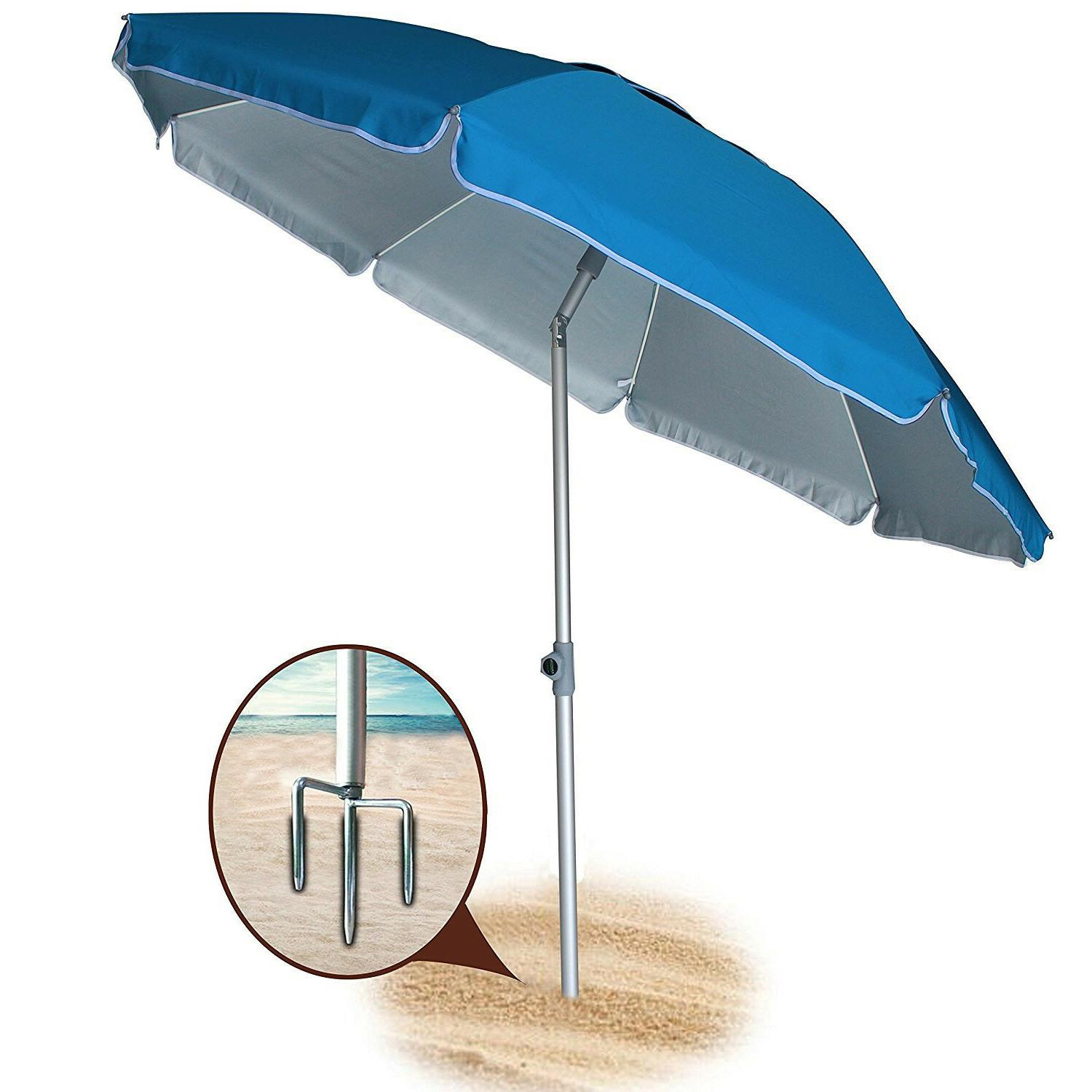 AMMSUN New 6.5/7 Ft 8 Panels Sand Anchor Beach Umbrella w/ S