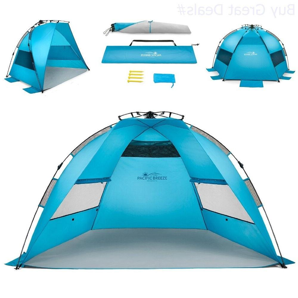 Pacific Breeze Easy Up Beach Tent Outdoor Canopy Sun Shelter