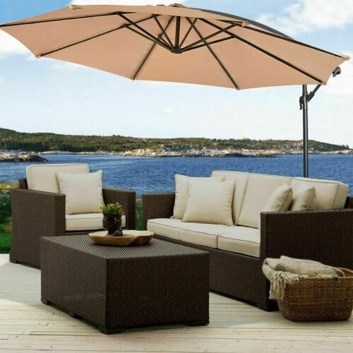 Patio Umbrella 10' Hanging Umbrella Outdoor Beach Garden