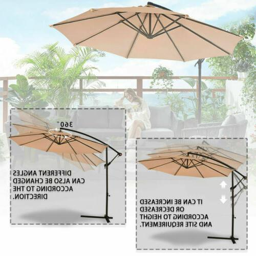 Patio 10' Hanging Umbrella Outdoor Market Beach Garden