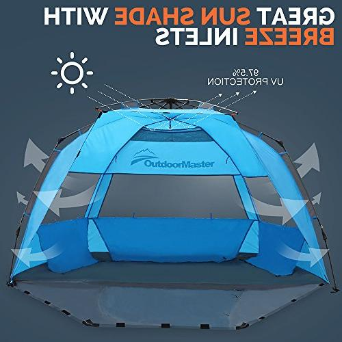 OutdoorMaster Up Beach Tent - to Set Portable Beach Shade with SPF 50+ UV Protection for & Family