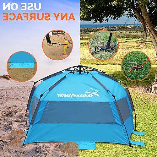 OutdoorMaster Up Tent - Easy Set Up, Shade SPF UV Protection for &