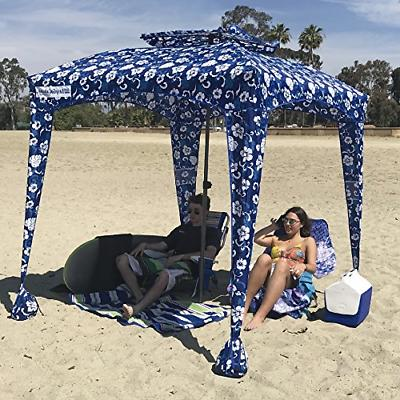 EasyGO Beach & Cabana, Blue Flowers, 6'