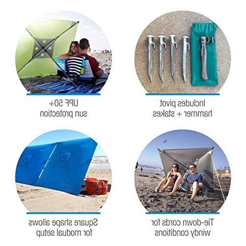 CleverMade 5' Outdoor Beach Wind - Carry Pivot Hammer and