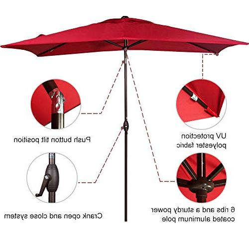 Abba Rectangular Umbrella Umbrella with Push Tilt Crank, by