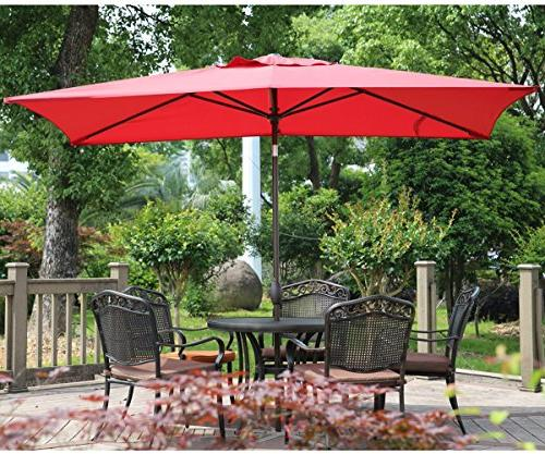 Abba Rectangular Patio Umbrella Umbrella with Button Tilt and Crank, by