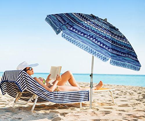 AMMSUN ft Anchor Beach Umbrella Height with Twist-in UPF Silver Coating and Telescoping Pole/Blue