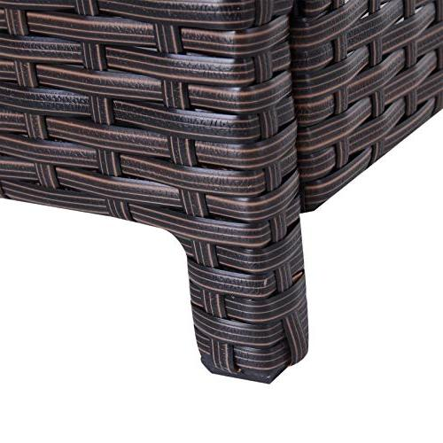 Outsunny Rattan Wicker Outdoor Accent with Umbrella Insert