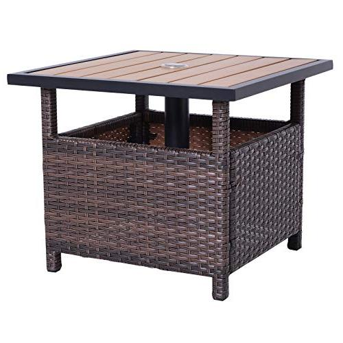 """Outsunny 22"""" Steel PE Rattan Outdoor Accent Table Insert"""