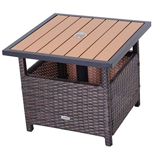 Rattan Wicker Accent Table with Insert