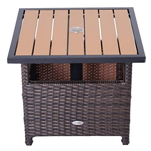 """Outsunny 22"""" Rattan Accent Table Insert"""