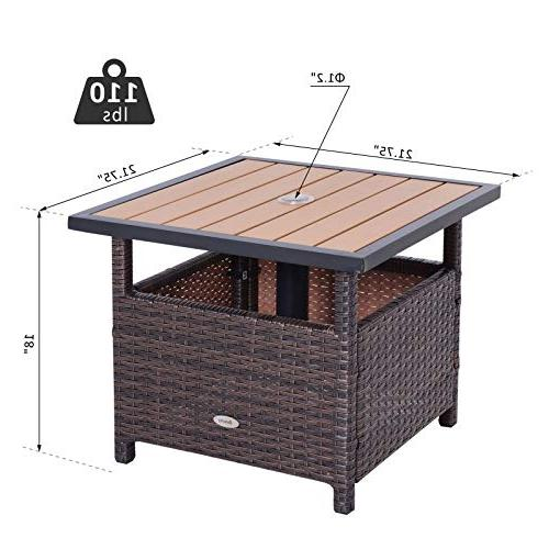 """Outsunny 22"""" Steel Rattan Accent with Umbrella Insert"""