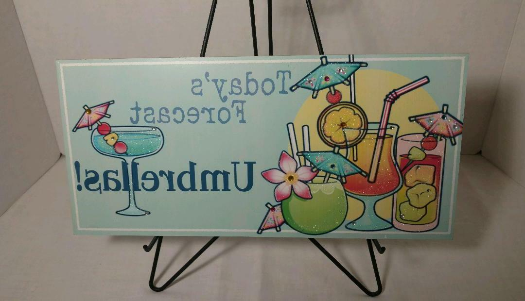 tropical mixed drinks beach party wooden sign