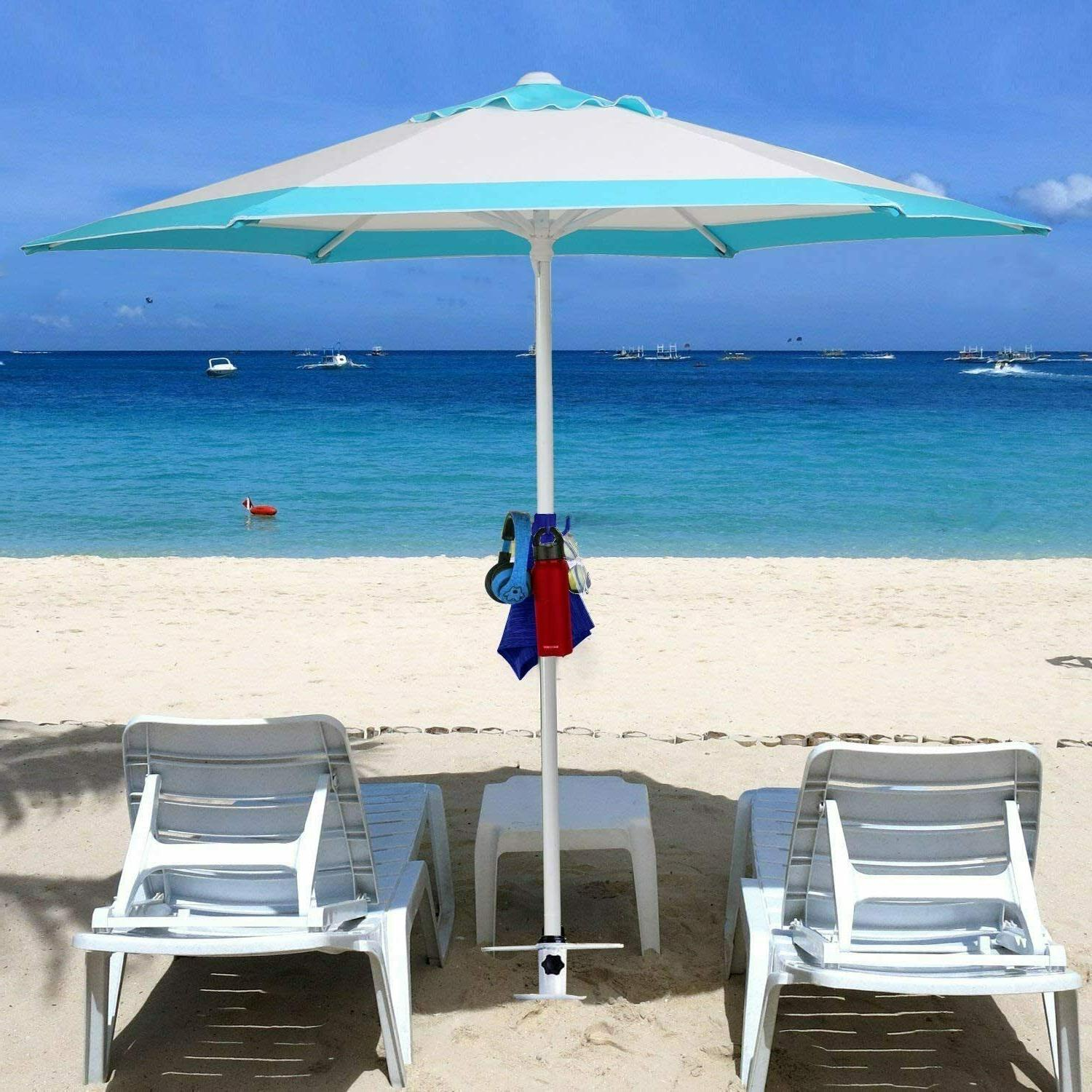 AMMSUN Umbrella Sand Duty Metal Beach Umbrella