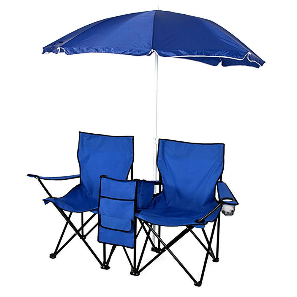 US Double Table W/Umbrella Cooler Foldable