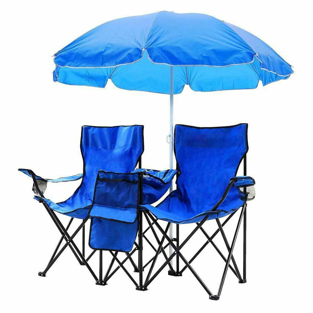 US Chair Double Folding W/Umbrella Cooler