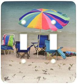 3dRose LLC lsp_156312_2 Chairs and Umbrella on Beach Double