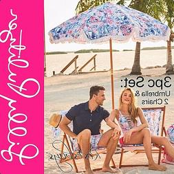 NEW Lilly Pulitzer 3pc Set: Beach Umbrella & 2 Sling Chairs