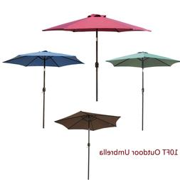 Outdoor 10FT Patio Umbrella Crank Tilt Market Waterproof Bea