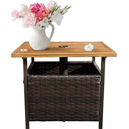 SunLife Patio Wood-Grain Side Table with Umbrella Hole/Umbre