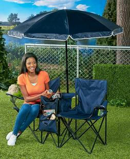 Portable Folding Chair Double with Cooler and Adjustable Umb