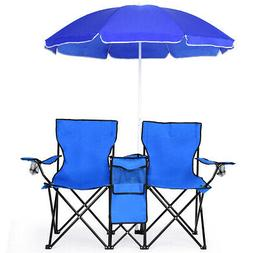 Portable Folding Picnic Double Chair W/Umbrella Table Cooler
