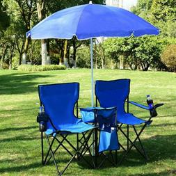 Giantex Portable Folding Picnic Double Chair W/Umbrella Tabl