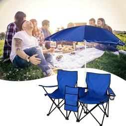 Portable Outdoor Beach Fishing 2-Seat Folding Chair with Sun