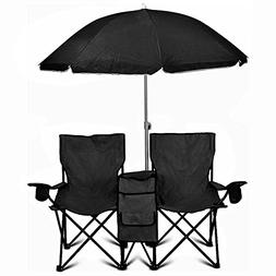 GoTEAM! PORTABLE STEEL DOUBLE FOLDING CHAIR W/REMOVABLE UMBR