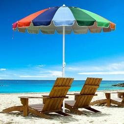 Rainbow Beach Umbrella Patio Outdoor Sunshade 16 Ribs Crank