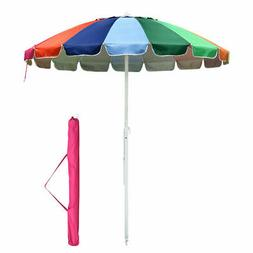 7ft Rainbow Beach Umbrella Patio Outdoor Sunshade Umbrella 1