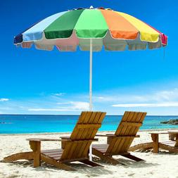 8' Rainbow Umbrella Patio Outdoor Sunshade 16Ribs Crank Tilt