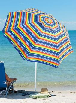 Rio Beach 7 Foot Upf 50+ Beach Umbrella With Built-In Sand A
