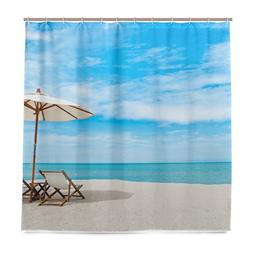 ALAZA Sea Beach Umbrella Shower Curtain Waterproof Polyester
