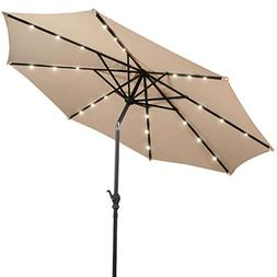 Giantex 10ft Solar Patio Umbrella Sunbrella with LED Lighted