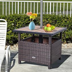 """Outsunny 22"""" Steel PE Rattan Wicker Outdoor Patio Accent Tab"""