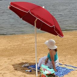 Sunnydaze Steel 5 Foot Red Beach Umbrella with Tilt Function