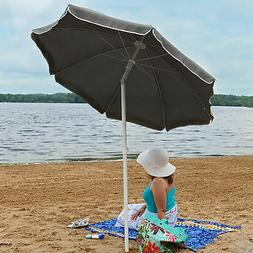 Sunnydaze Steel 5 Foot Sage Green Beach Umbrella with Tilt F