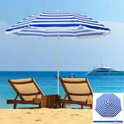 Striped Beach Umbrella 6.5 Feet Tilt Telescoping Pole UV Pro