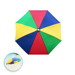 Sun Protection Rainbow Beach Umbrella - Yellow Red Green Blu