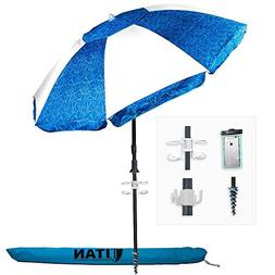 Titan 7 Foot Beach Umbrella with Sand Anchor | Tilting 2 Pie
