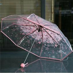 Transparent Umbrella Cherry Sakura 3 Fold beach Umbrella Sun