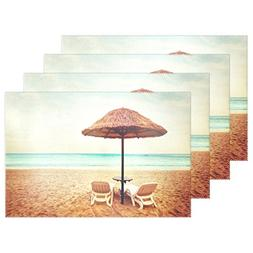 ALAZA Tropical Beach View Chairs with Sun Umbrellas Heat-res