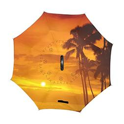 ALAZA U LIFE Summer Beach Palm Trees Sunset Reverse Inverted