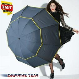 US 130CM Men Women Folding Rain Umbrella Anti-UV Windproof B