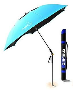 Sunphio Large Windproof Beach Umbrella, Sturdy 100% UV Prote