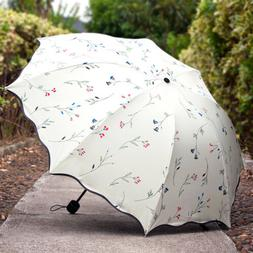 Women Anti-UV Sun Rain Protection Windproof Flower Parasols